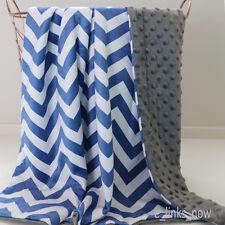SALE! Baby Minky Blanket Stroller Cot Shower Gift Chevron Dark Blue Grey