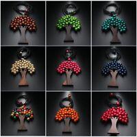 geschenke böhmen unisex - lange anhänger weihnachtsbaum holz - kette perlen