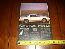 1984 PONTIAC TRANS AM - ORIGINAL ARTICLE / SPECIFCATIONS