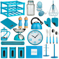 Blue Kitchen Accessories Storage Canisters Jars Kettle Clock Scales Cutlery Tubs
