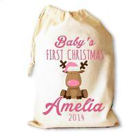 Christmas Santa Sack Gift Bag | First Christmas Reindeer Pink | Personalised