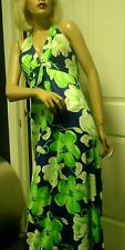 Vintage De Weese 60's Maxi Halter Hawaiian Blue Green Floral  Sun Dress  Small