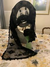 "Vtg Black Lace Netting Mantilla Scarf Mourning Head Wrap Bandana Gothic Goth 64"""
