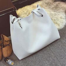 Fashion Women Leather Litchi Stria Handbag Single Shoulder Bag+Clutch Bag