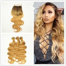 8A 300g/3bundles Dark Root 1b/27 Ombre Blonde Bodywave Human Hair & Closure