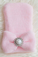 Pink Solid Knit Newborn Hospital Hat w/ Pearl Rhinestone and Bow-Photo Prop