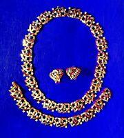 2 HEARTS SET, EXTRAORDINARY TRIFARI 1953 Patent Pend. Necklace Bracelet Earrings