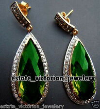 Vintage 1.75Cts Rose Cut Diamond Emerald Studded Silver Amazing Jewelry Earring