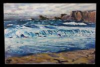 VINTAGE FAUVIST COASTAL LANDSCAPE OCEAN WAVES SEASCAPE OIL PAINTING BY BERTRAND
