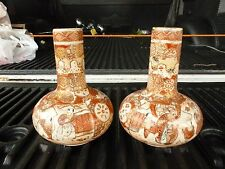 MATCHED PAIR OF ANTIQUE  JAPANESE SATSUMA VASES UNSIGNED