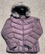 Women's Columbia Coat Winter Down Jacket Wine Faux Fur Trim Hood XL Fits Small