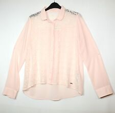 PINK LADIES FORMAL TOP BLOSUE SHIRT SHEER LACE FRONT SIZE S ABERCROMBIE & FITCH