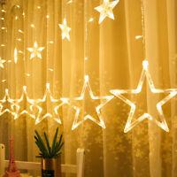 Star Shaped LED Light String Curtain Window Bedroom Xmas Fairy Lamp Home Decor L