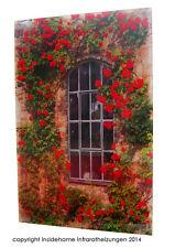 "Infrarotheizung Elegance - Glas rahmenlos, 600 Watt, Motiv ""Rosenfenster"""