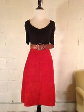 Red suede A line skirt Medium or Large