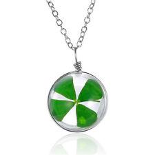 Medaillon Amulett Talisman Medallion Glücksbringer Glas Kugel Echt Kleeblatt Neu