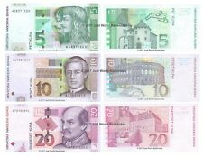 Croatia 5 + 10 + 20 Kuna 2001-14 Set of 3 Banknotes 3 PCS UNC