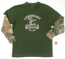 XL Size Youth Boys shirt Cabela's Camo Green & Brown Long Sleeve Seclusion-3D