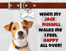 "Jack Russell Terrier When My Dog Walks Me Fridge Magnet 4.5"" x 3.5"""