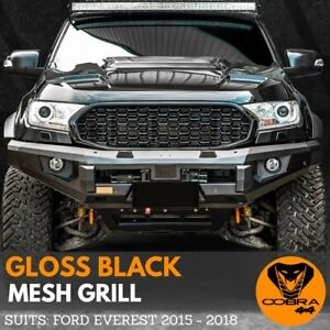 FRONT MESH GRILL fits FORD EVEREST 2015 2016 2017 2018 GLOSS BLACK GRILLE