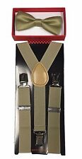 Simple & Elegant Suspender and Bow Tie Set for Boys Girls Children Beige