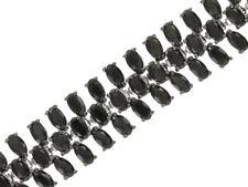 "30.36ctw Oval Black Diamond 14k White Gold Over Silver Multi-Row 7.5"" Bracelet"