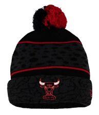 NBA Chicago Bulls New Era Black Polar Prints Knit Hat Beanie Cap Toque Pom Pom