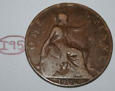 1906 Great Britain 1 Penny Edward Vii Uk Coin Km# 794.2 Lot #I95
