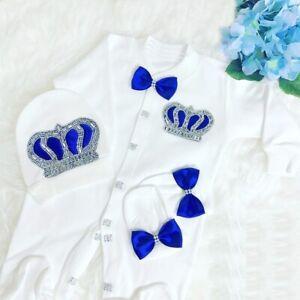 Personalize Newborn Baby Girl Boy Romper Fancy Bow Crown Gift Set Sleep suit