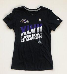 Women's Large Baltimore Ravens Super Bowl XLVII Champions Black Nike T-Shirt