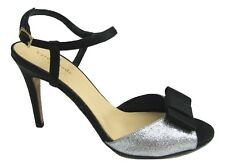 Kate Spade Ivy Black Silver Glitter Strappy Heels Back Bow Sz 7.5 Pump Open Toe