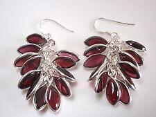 Red Garnet Marquise Cluster 925 Sterling Silver Dangle Earrings
