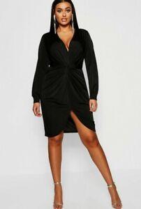 Boohoo twist front Dress UK 10 - 12 women's wrap black slinky ladies party