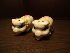 Vintage Salt & Pepper Shakers Pigs - Yellow Bow & Pink Flowers - Hogs
