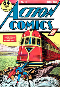 ACTION COMICS #13  June 1939 Classic train cover 4th Superman Cover *** CGC