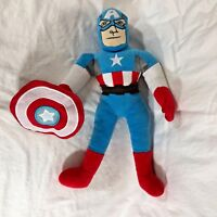 "Marvel Comics Plush Captain America Toy Stuffed Doll w shield 17"" tall"