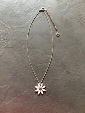 Pilgrim Enamel Flower Pendant Necklace Gold Tones Danish Design