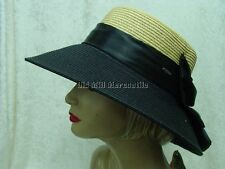 Downton Abbey Vintage style faux straw brimmed hat black & natural one size