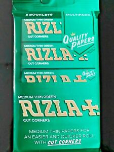 Rizla Multipack Booklets Green Medium Thin Rolling Cigarette Papers X5 BOOKLETS