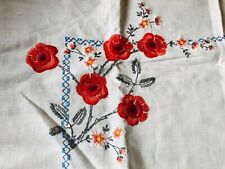 Hand Embroidered Vintage Linen Table Cloth