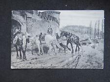 postcard Abel Christiania Skredsvig Pinx hestene Hjem Horses Norge Norway Oslo