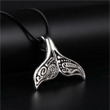 Men's Whale Tail Fish Charm Necklace Punk Stainless Steel Mermaid Necklace