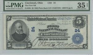 1902 $5 First NB Cincinnati Ohio CH#24 PMG 35 CH VF NET Plain Back