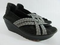 Bernie Mev Woven Silver Black Metallic Open Toe Wedge Sandals Womens Size 8.5/39