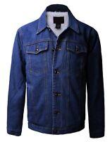 New Trucker Jacket Men's Sherpa Lined Button-Front Denim Jeans Denim Blue