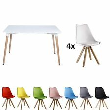 Eiffel Halo Set Dining Table Rectangle Large + 4 Sofia Chair Pyramid White Black