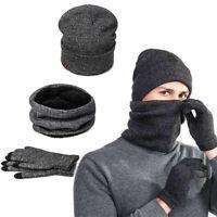 3pcs Winter Hat Scarf +Winter Gloves Winter Beanie Hat Scarf Gloves for Men US