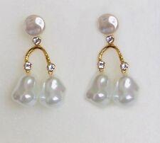 BLOGGERS FAV  DESIGNER STYLE WHITE GLASS PEARLS GOLD BRANCH EARRINGS - NEW
