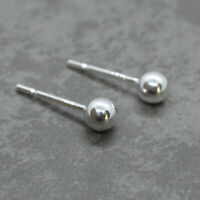925 Sterling Silver 4mm BALL STUD EARRINGS only (no backs) - wholesale  findings