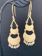 18K Gold Sterling Silver Circle Disc Earrings Labradorite Gemstone Teardrop Moon